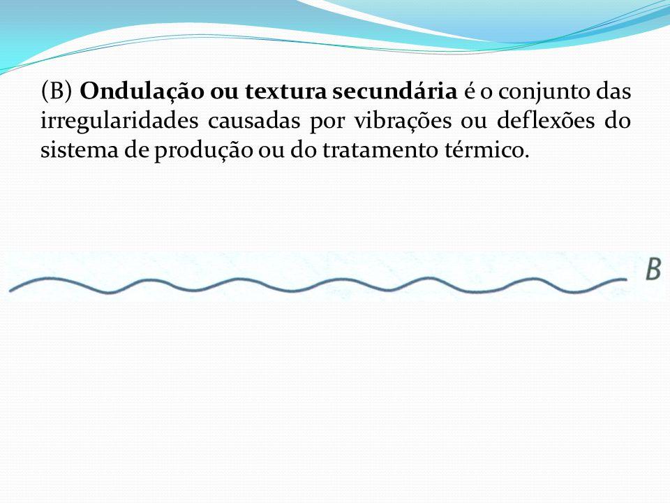 (B) Ondulação ou textura secundária é o conjunto das irregularidades causadas por vibrações ou deflexões do sistema de produção ou do tratamento térmi
