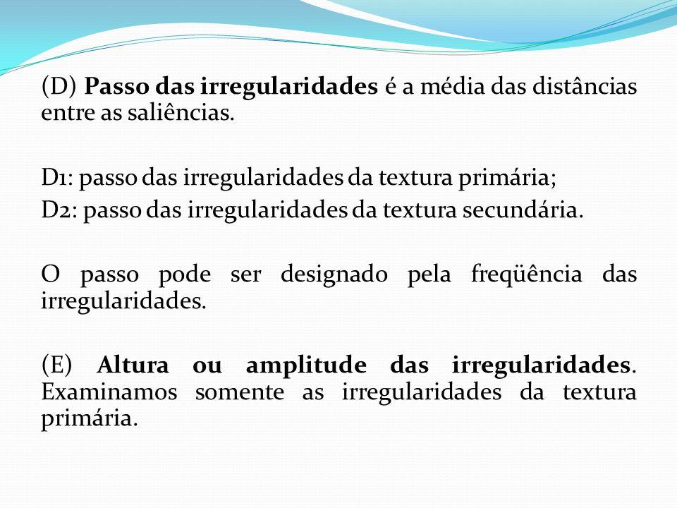 (D) Passo das irregularidades é a média das distâncias entre as saliências. D1: passo das irregularidades da textura primária; D2: passo das irregular