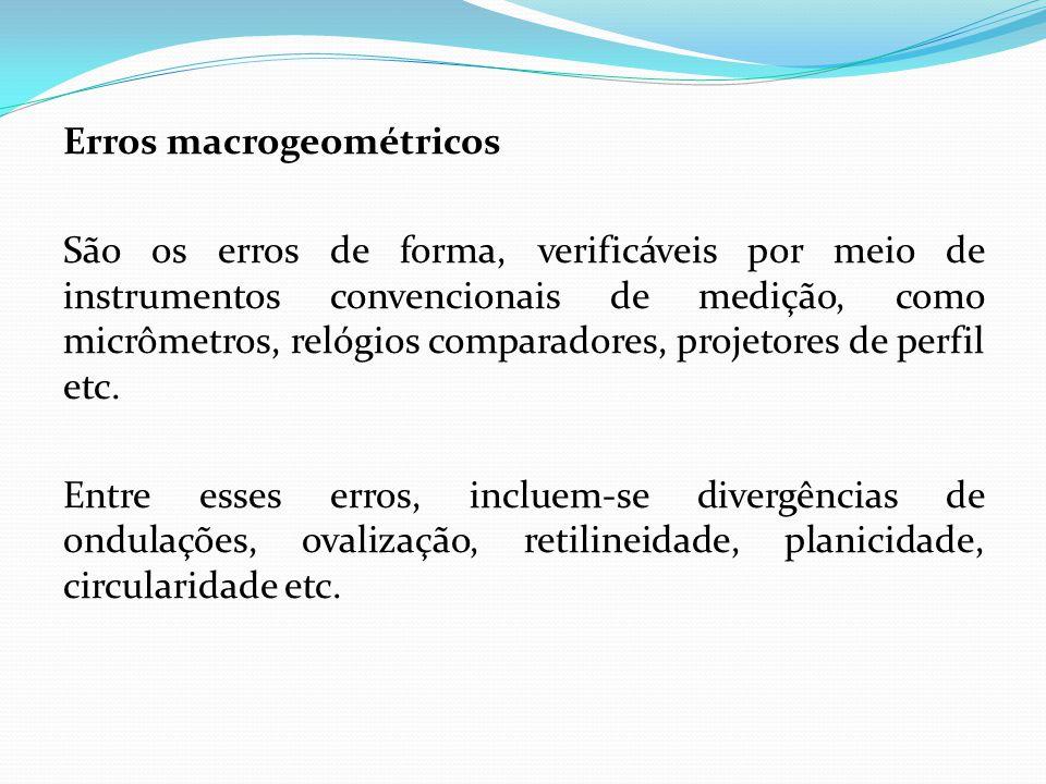 Erros macrogeométricos São os erros de forma, verificáveis por meio de instrumentos convencionais de medição, como micrômetros, relógios comparadores,