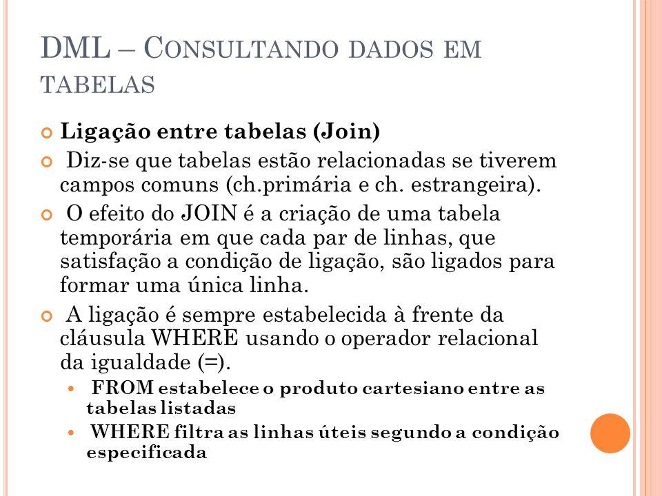 DML – C ONSULTANDO DADOS EM TABELAS Ligação entre tabelas (Join) Diz-se que tabelas estão relacionadas se tiverem campos comuns (ch.primária e ch.