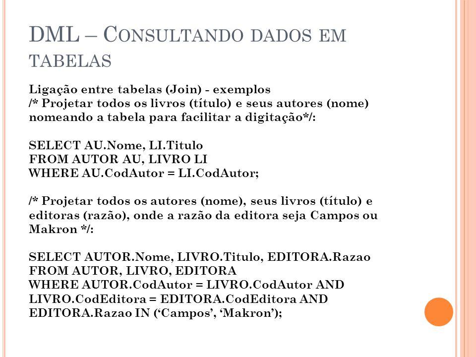 DML – C ONSULTANDO DADOS EM TABELAS Ligação entre tabelas (Join) - exemplos /* Projetar todos os livros (título) e seus autores (nome) nomeando a tabe