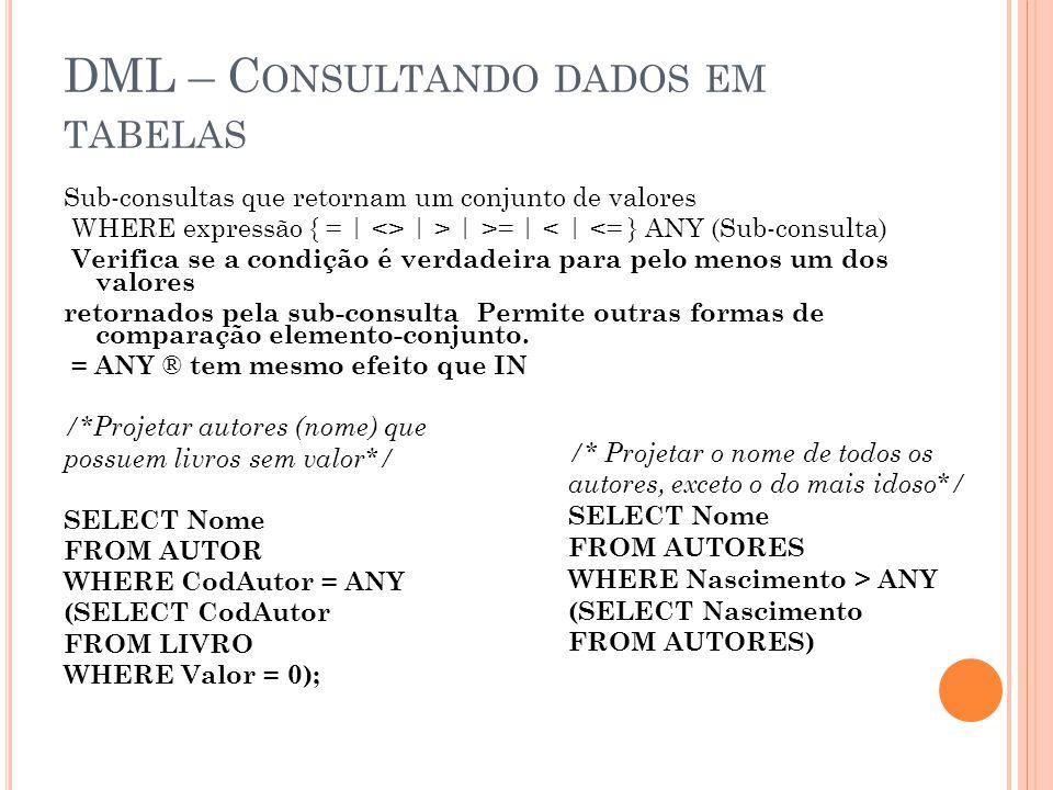 DML – C ONSULTANDO DADOS EM TABELAS Sub-consultas que retornam um conjunto de valores WHERE expressão { = | <> | > | >= | < | <= } ANY (Sub-consulta)