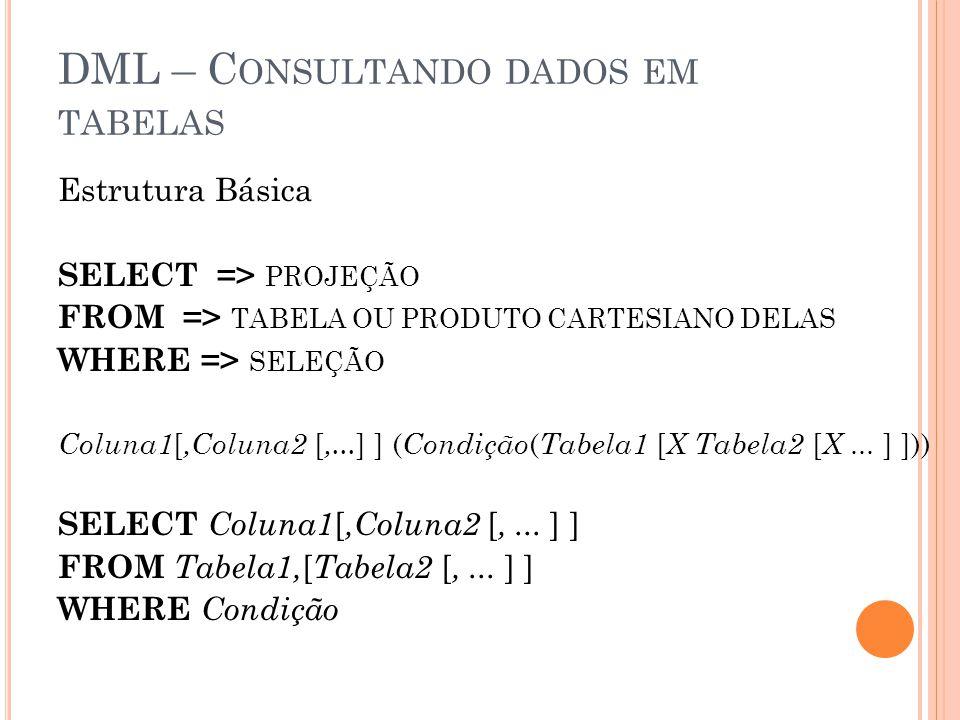 DML – C ONSULTANDO DADOS EM TABELAS Estrutura Básica SELECT => PROJEÇÃO FROM => TABELA OU PRODUTO CARTESIANO DELAS WHERE => SELEÇÃO Coluna1 [,Coluna2