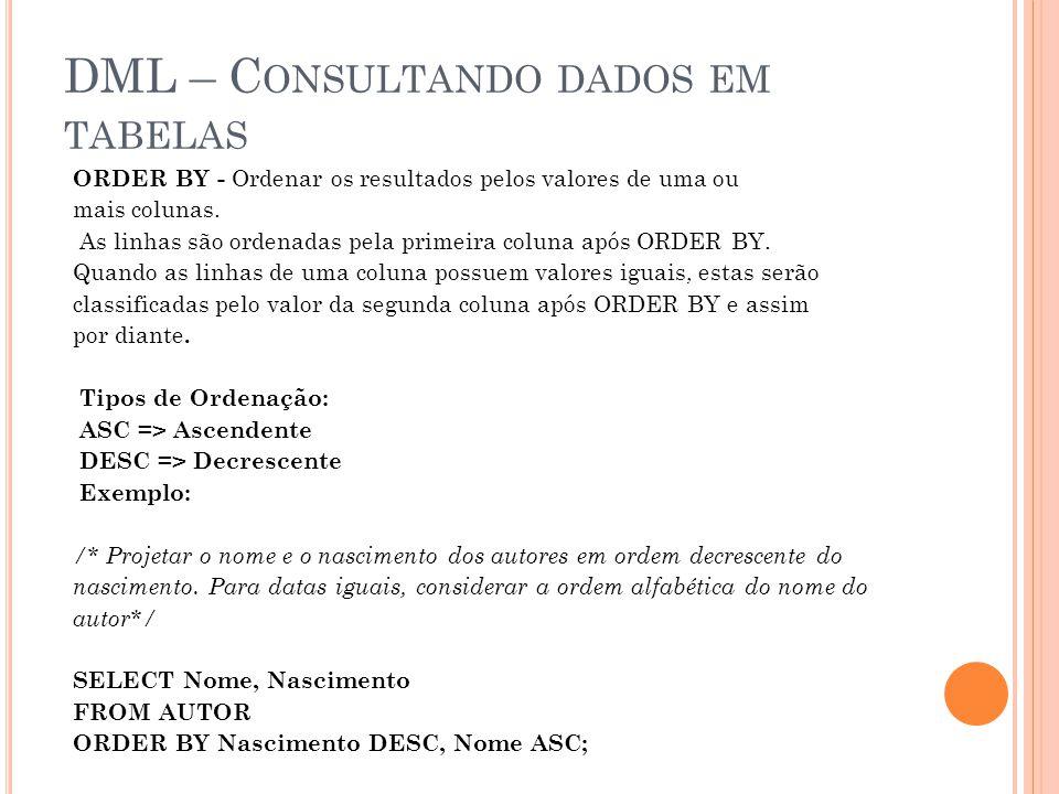 DML – C ONSULTANDO DADOS EM TABELAS ORDER BY - Ordenar os resultados pelos valores de uma ou mais colunas.