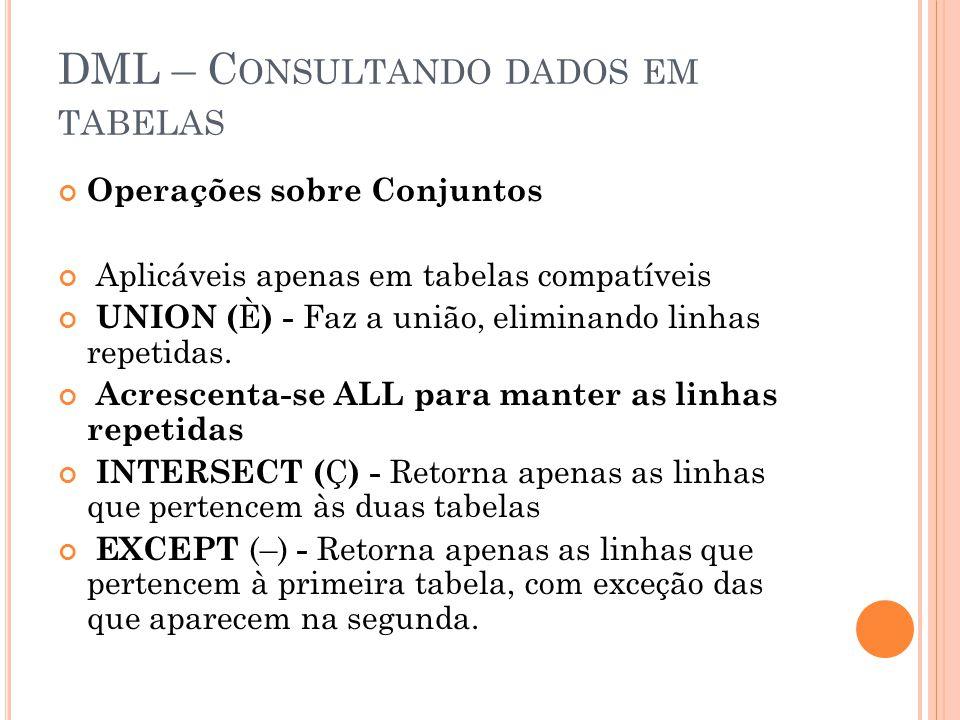 DML – C ONSULTANDO DADOS EM TABELAS Operações sobre Conjuntos Aplicáveis apenas em tabelas compatíveis UNION ( È ) - Faz a união, eliminando linhas repetidas.
