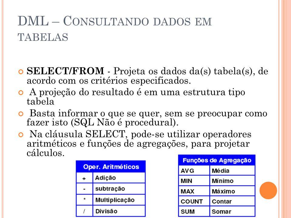 DML – C ONSULTANDO DADOS EM TABELAS SELECT/FROM - Projeta os dados da(s) tabela(s), de acordo com os critérios especificados. A projeção do resultado
