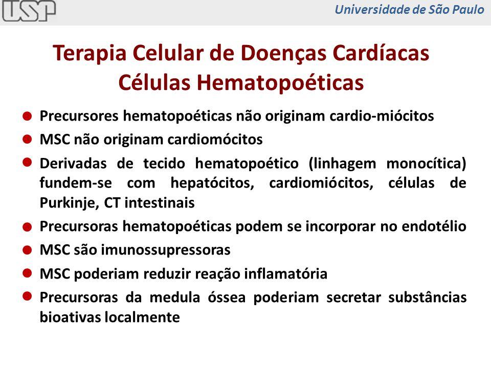 Precursores hematopoéticas não originam cardio-miócitos MSC não originam cardiomócitos Derivadas de tecido hematopoético (linhagem monocítica) fundem-