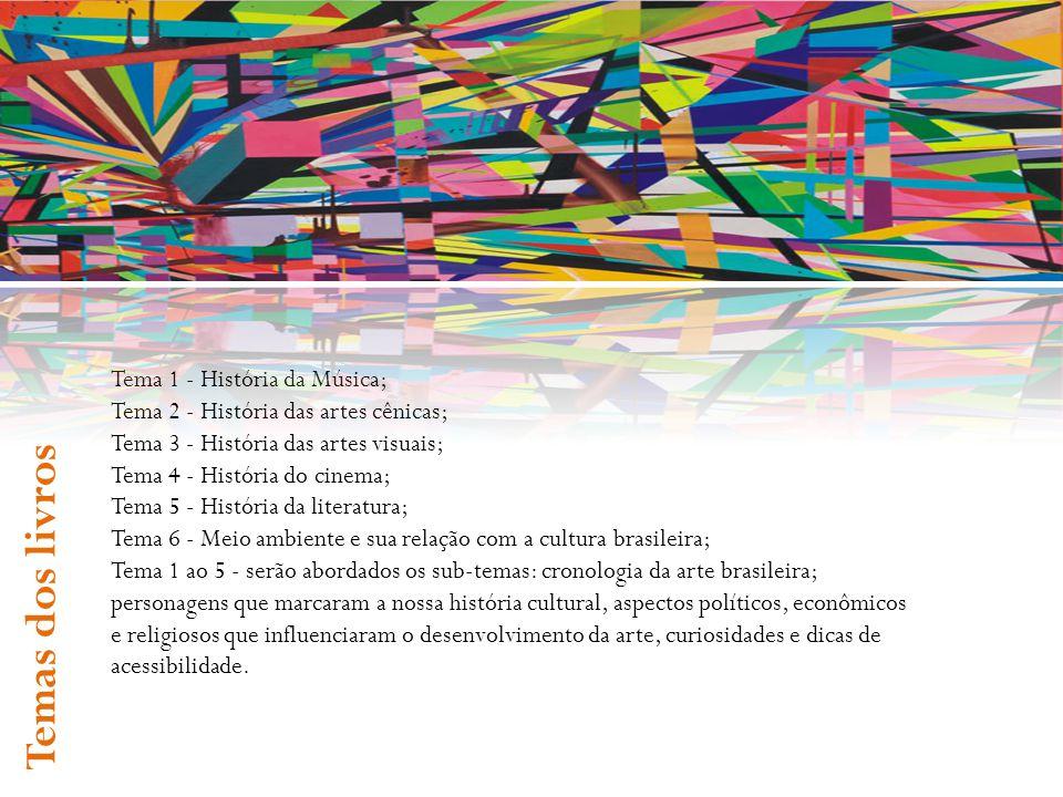 Tema 1 - História da Música; Tema 2 - História das artes cênicas; Tema 3 - História das artes visuais; Tema 4 - História do cinema; Tema 5 - História