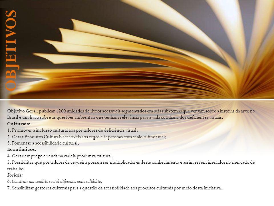 Objetivo Geral: publicar 1200 unidades de livros acessíveis segmentados em seis sub-temas que versam sobre a história da arte no Brasil e um livro sob