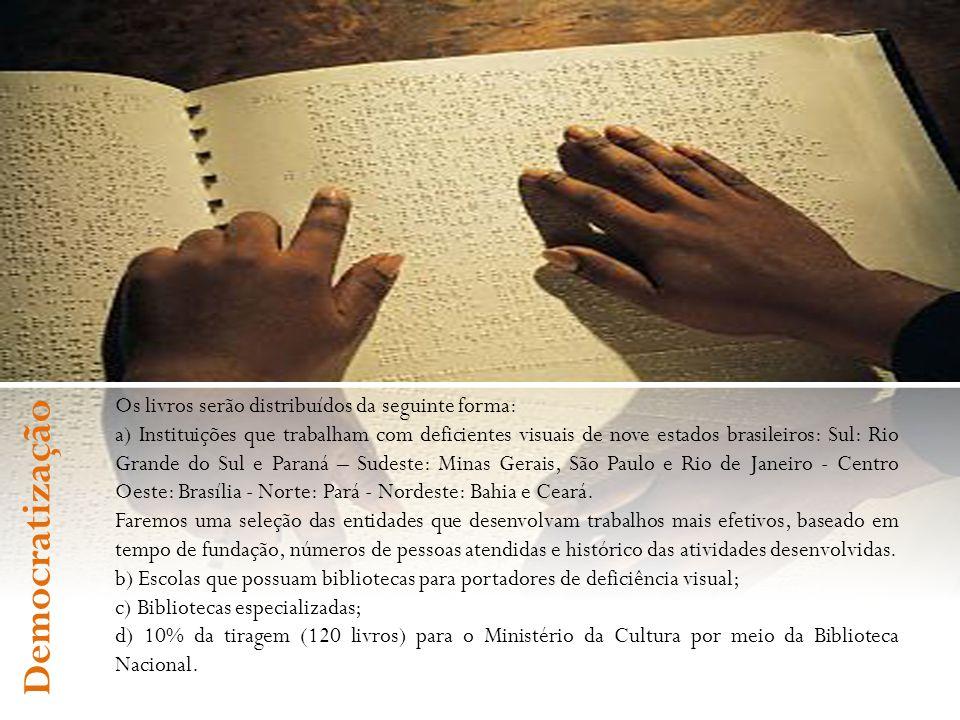 Os livros serão distribuídos da seguinte forma: a) Instituições que trabalham com deficientes visuais de nove estados brasileiros: Sul: Rio Grande do