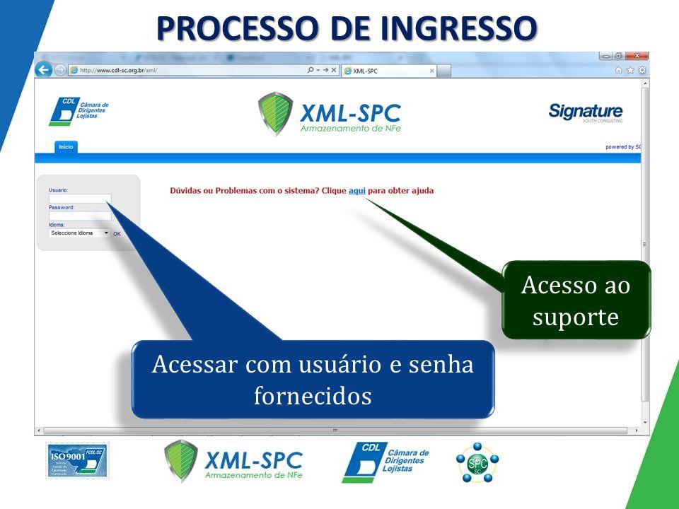 PROCESSO DE INGRESSO Acessar com usuário e senha fornecidos Acesso ao suporte