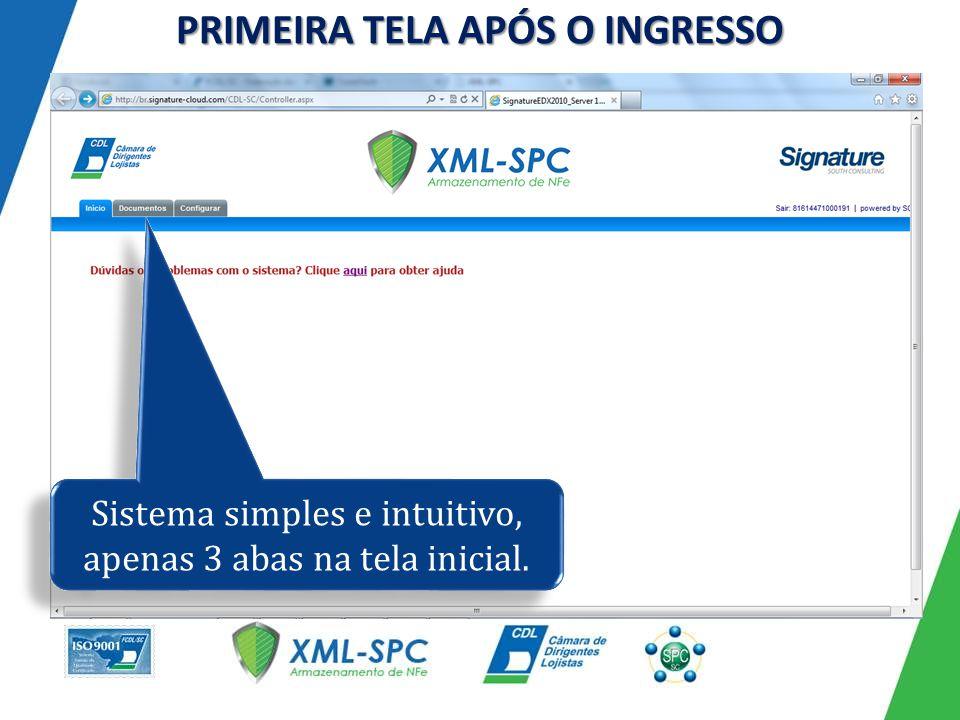 PRIMEIRA TELA APÓS O INGRESSO Sistema simples e intuitivo, apenas 3 abas na tela inicial.