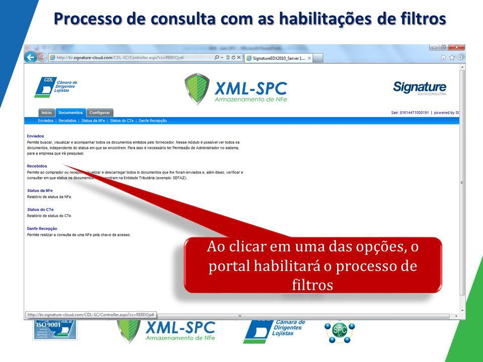 Processo de consulta com as habilitações de filtros Ao clicar em uma das opções, o portal habilitará o processo de filtros