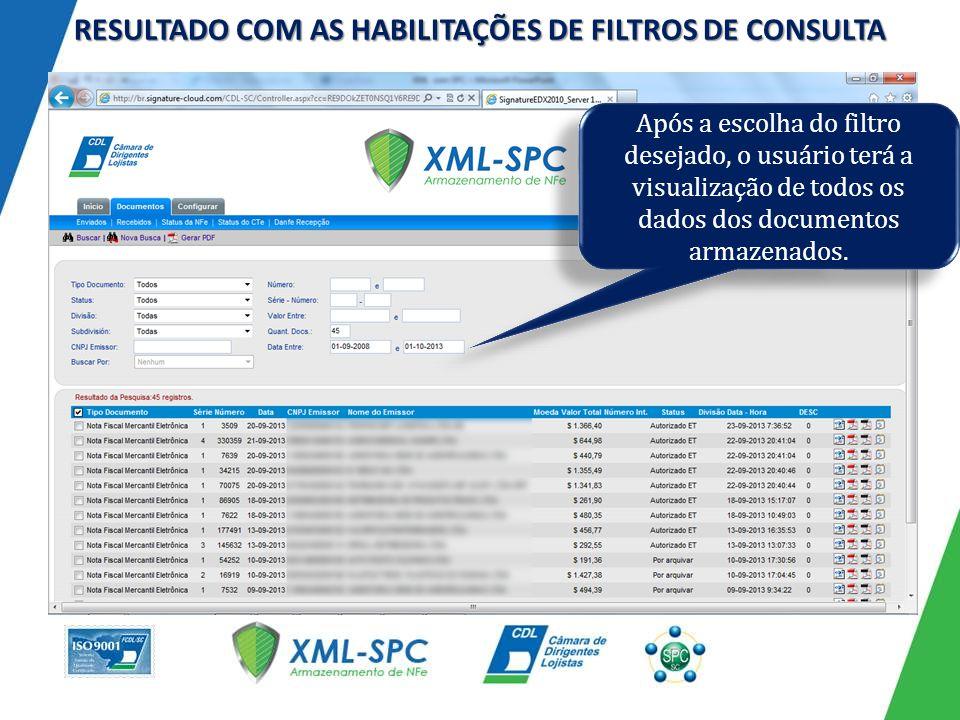 RESULTADO COM AS HABILITAÇÕES DE FILTROS DE CONSULTA Após a escolha do filtro desejado, o usuário terá a visualização de todos os dados dos documentos armazenados.