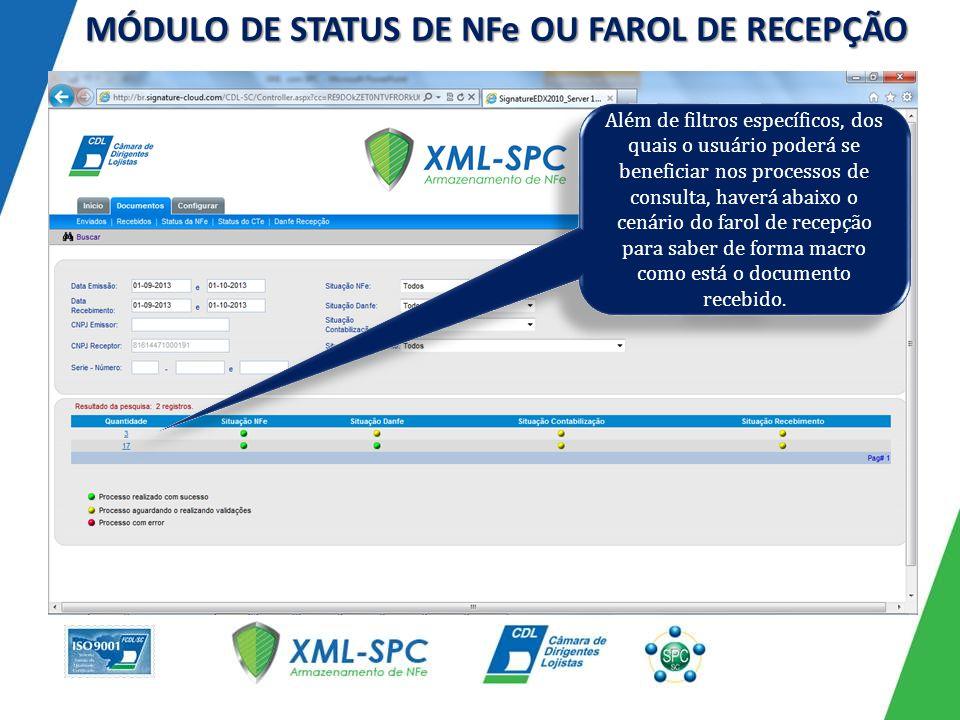 Além de filtros específicos, dos quais o usuário poderá se beneficiar nos processos de consulta, haverá abaixo o cenário do farol de recepção para saber de forma macro como está o documento recebido.