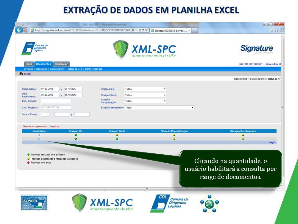 EXTRAÇÃO DE DADOS EM PLANILHA EXCEL Clicando na quantidade, o usuário habilitará a consulta por range de documentos.