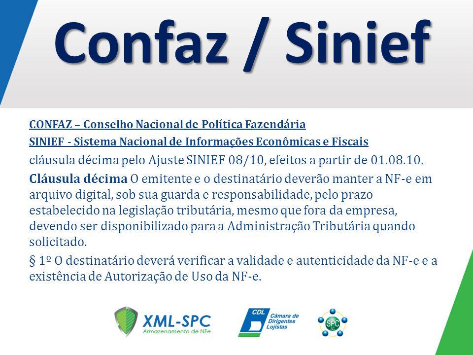 CONFAZ – Conselho Nacional de Política Fazendária SINIEF - Sistema Nacional de Informações Econômicas e Fiscais cláusula décima pelo Ajuste SINIEF 08/10, efeitos a partir de 01.08.10.