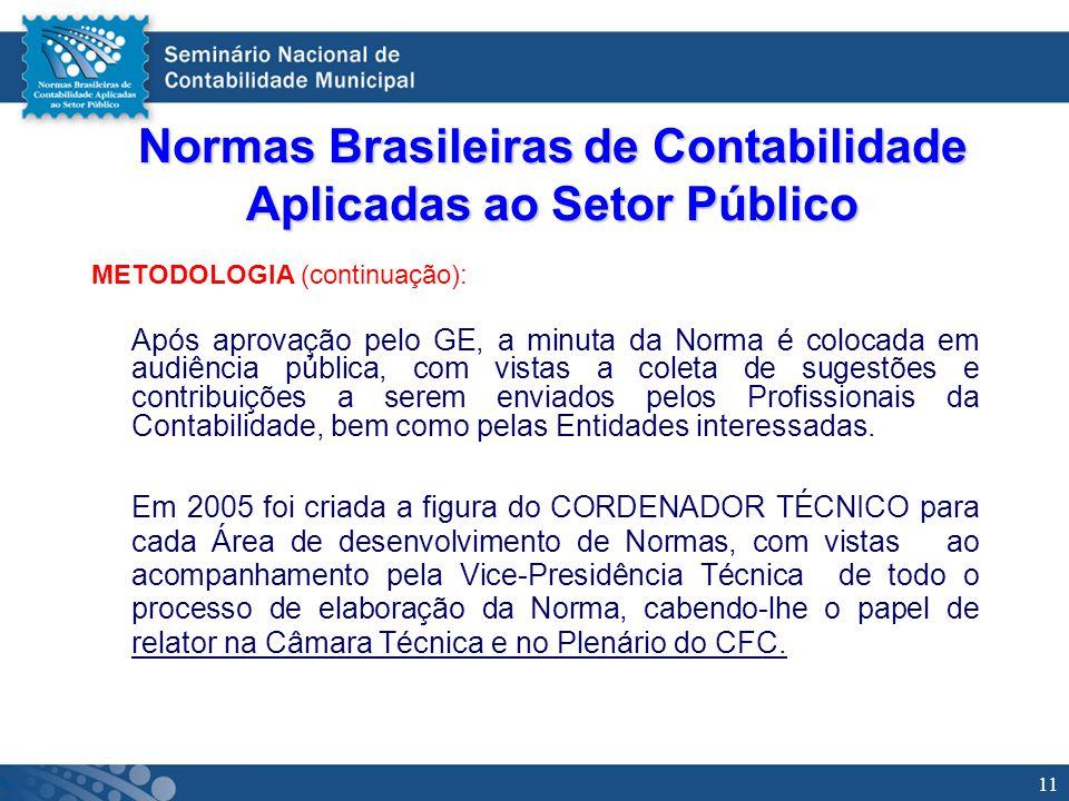11 Normas Brasileiras de Contabilidade Aplicadas ao Setor Público METODOLOGIA (continuação): Após aprovação pelo GE, a minuta da Norma é colocada em a