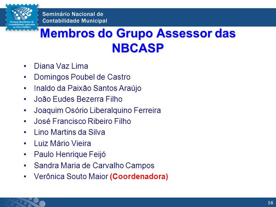 16 Membros do Grupo Assessor das NBCASP Diana Vaz Lima Domingos Poubel de Castro Inaldo da Paixão Santos Araújo João Eudes Bezerra Filho Joaquim Osóri