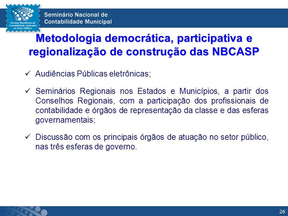 26 Metodologia democrática, participativa e regionalização de construção das NBCASP Audiências Públicas eletrônicas; Seminários Regionais nos Estados