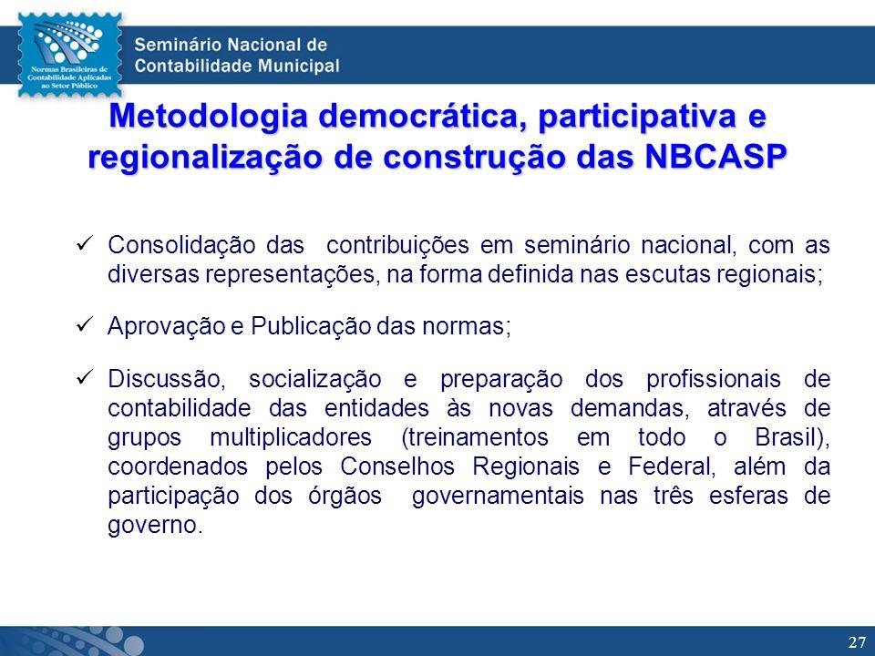 27 Metodologia democrática, participativa e regionalização de construção das NBCASP Consolidação das contribuições em seminário nacional, com as diver