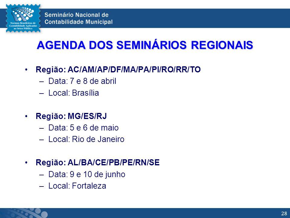 28 AGENDA DOS SEMINÁRIOS REGIONAIS Região: AC/AM/AP/DF/MA/PA/PI/RO/RR/TO –Data: 7 e 8 de abril –Local: Brasília Região: MG/ES/RJ –Data: 5 e 6 de maio