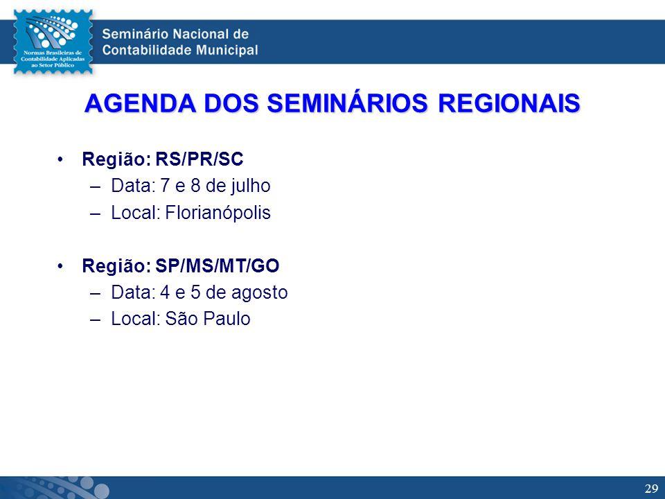 29 AGENDA DOS SEMINÁRIOS REGIONAIS Região: RS/PR/SC –Data: 7 e 8 de julho –Local: Florianópolis Região: SP/MS/MT/GO –Data: 4 e 5 de agosto –Local: São