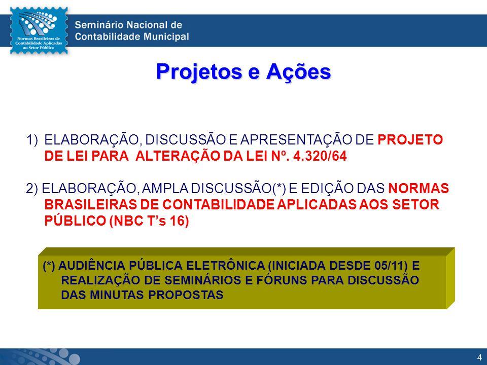 5 Projeto de Alteração da Lei 4.320 (I)O PL FOI ELABORADO POR UM GRUPO DE TRABALHO CONSTITUÍDO (EM JULHO/04) ESPECIALMENTE PARA REALIZAR UM ESTUDO E APRESENTAR PROPOSTAS DE ALTERAÇAO DA LEI 4.320/64 (COORDENADO PELO CONTADOR DOMINGOS POUBEL DE CASTRO) (I) O PL APRESENTADO À ÁREA TÉCNICA DO CFC JÁ FOI OBJETO DE AMPLA DISCUSSÃO PELO GRUPO ASSESSOR DAS NORMAS BRASILEIRAS DE CONTABILIDADE APLICADAS AO SETOR PÚBLICO (I) O PL A SER ENVIADO A ASSESSORIA PARLAMENTAR DO CFC PARA ENCAMINHAMENTO AO CONGRESSO NACIONAL ESTÁ EM FASE DE CONCLUSÃO,TENDO EM VISTA A NECESSÁRIA INCORPORAÇÃO DAS BASES CONCEITUAIS PREVISTAS NAS NORMAS BRASILEIRAS DE CONTABILIDADE APLICADAS AO SETOR PÚBLICO.