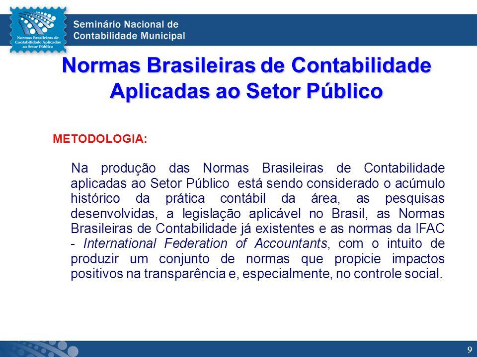 9 Normas Brasileiras de Contabilidade Aplicadas ao Setor Público METODOLOGIA: Na produção das Normas Brasileiras de Contabilidade aplicadas ao Setor P