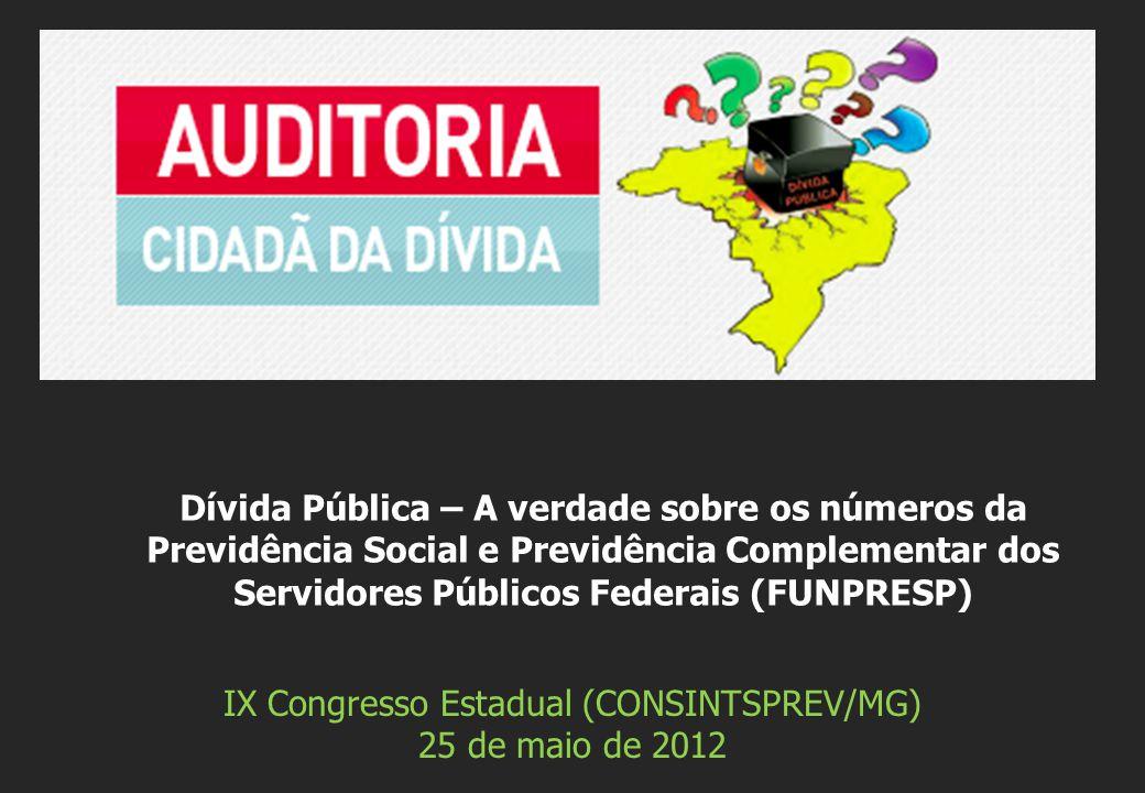 IX Congresso Estadual (CONSINTSPREV/MG) 25 de maio de 2012 Dívida Pública – A verdade sobre os números da Previdência Social e Previdência Complementar dos Servidores Públicos Federais (FUNPRESP)