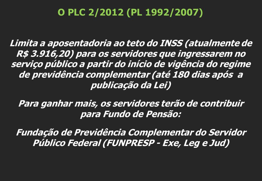 O PLC 2/2012 (PL 1992/2007) Limita a aposentadoria ao teto do INSS (atualmente de R$ 3.916,20) para os servidores que ingressarem no serviço público a partir do início de vigência do regime de previdência complementar (até 180 dias após a publicação da Lei) Para ganhar mais, os servidores terão de contribuir para Fundo de Pensão: Fundação de Previdência Complementar do Servidor Público Federal (FUNPRESP - Exe, Leg e Jud)