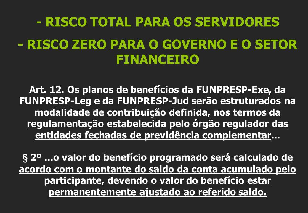 - RISCO TOTAL PARA OS SERVIDORES - RISCO ZERO PARA O GOVERNO E O SETOR FINANCEIRO Art.