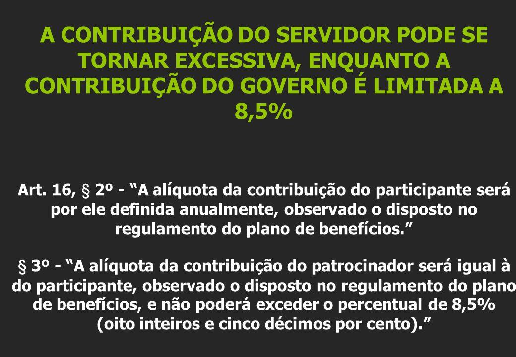 A CONTRIBUIÇÃO DO SERVIDOR PODE SE TORNAR EXCESSIVA, ENQUANTO A CONTRIBUIÇÃO DO GOVERNO É LIMITADA A 8,5% Art.