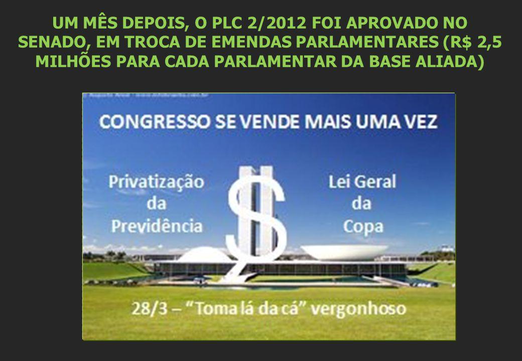 UM MÊS DEPOIS, O PLC 2/2012 FOI APROVADO NO SENADO, EM TROCA DE EMENDAS PARLAMENTARES (R$ 2,5 MILHÕES PARA CADA PARLAMENTAR DA BASE ALIADA)