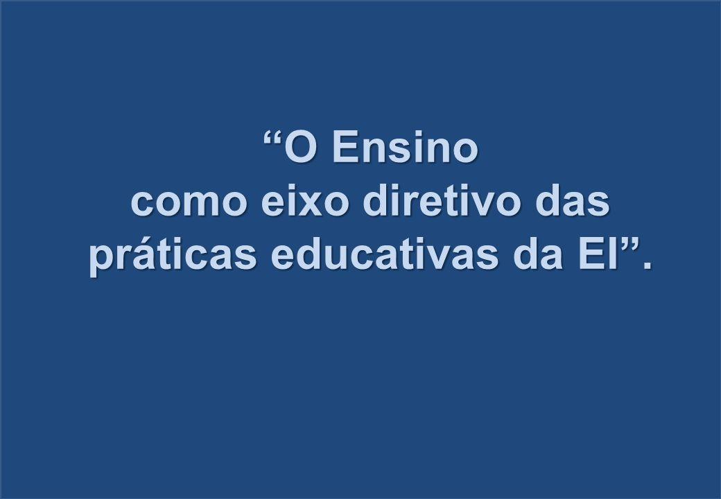 O Ensino como eixo diretivo das práticas educativas da EI.