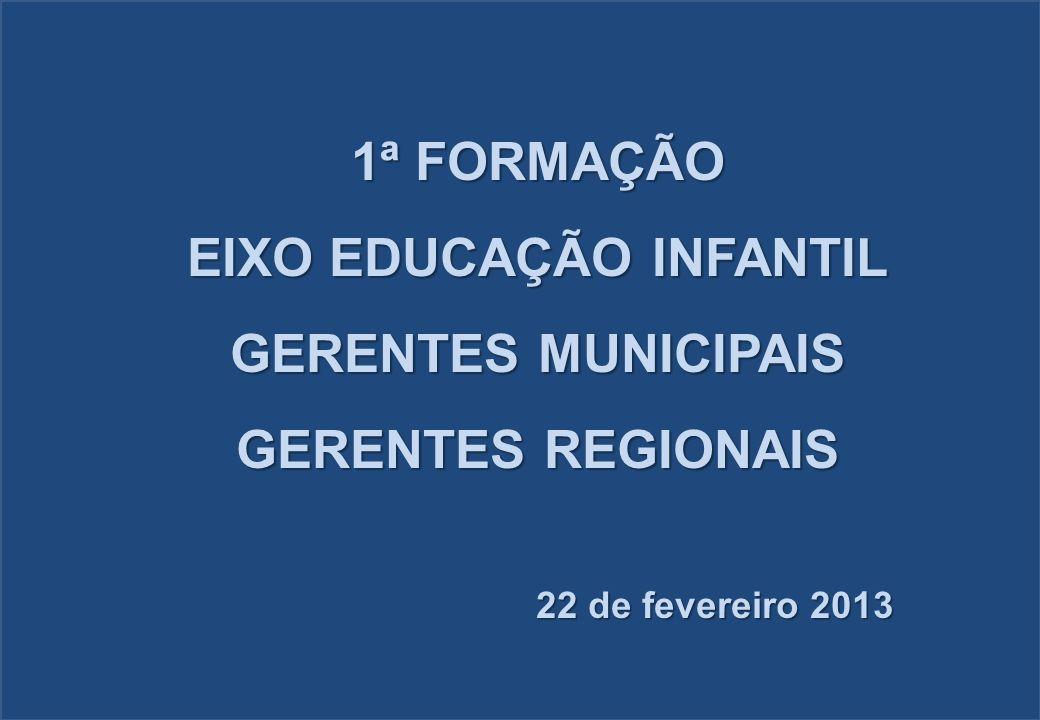 1ª FORMAÇÃO EIXO EDUCAÇÃO INFANTIL GERENTES MUNICIPAIS GERENTES REGIONAIS 22 de fevereiro 2013