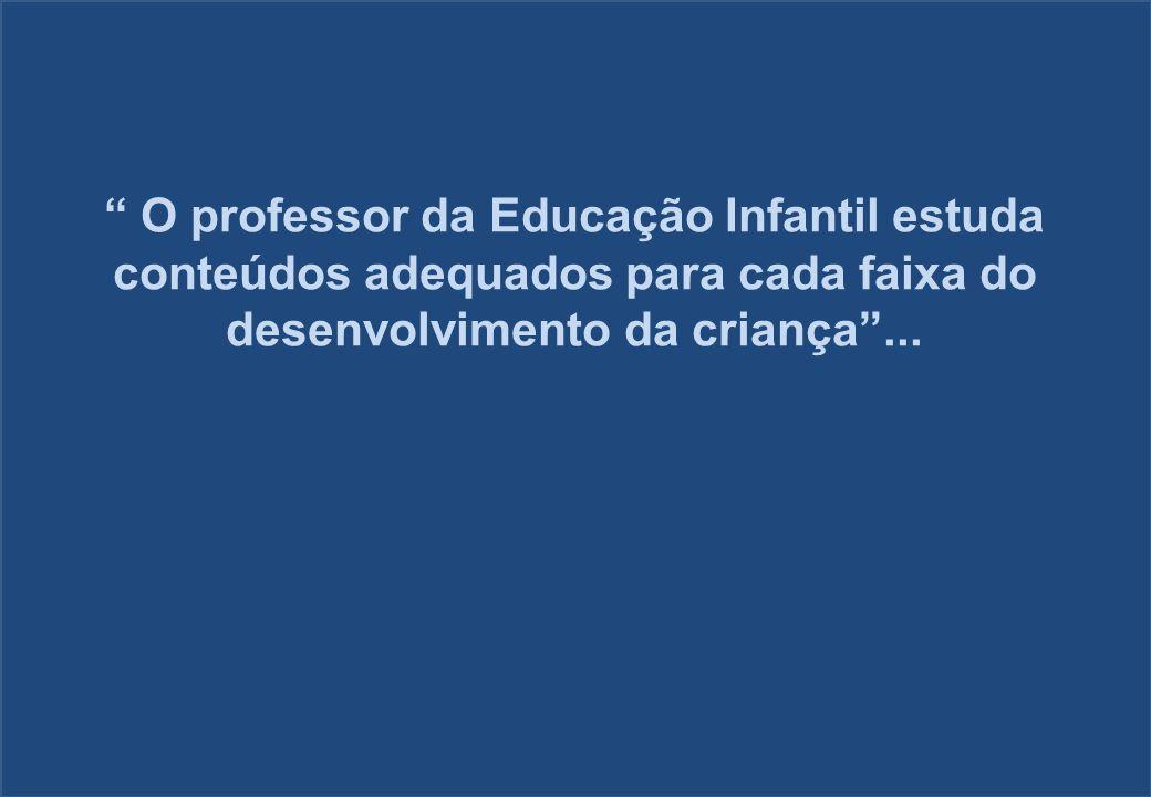 O professor da Educação Infantil estuda conteúdos adequados para cada faixa do desenvolvimento da criança...