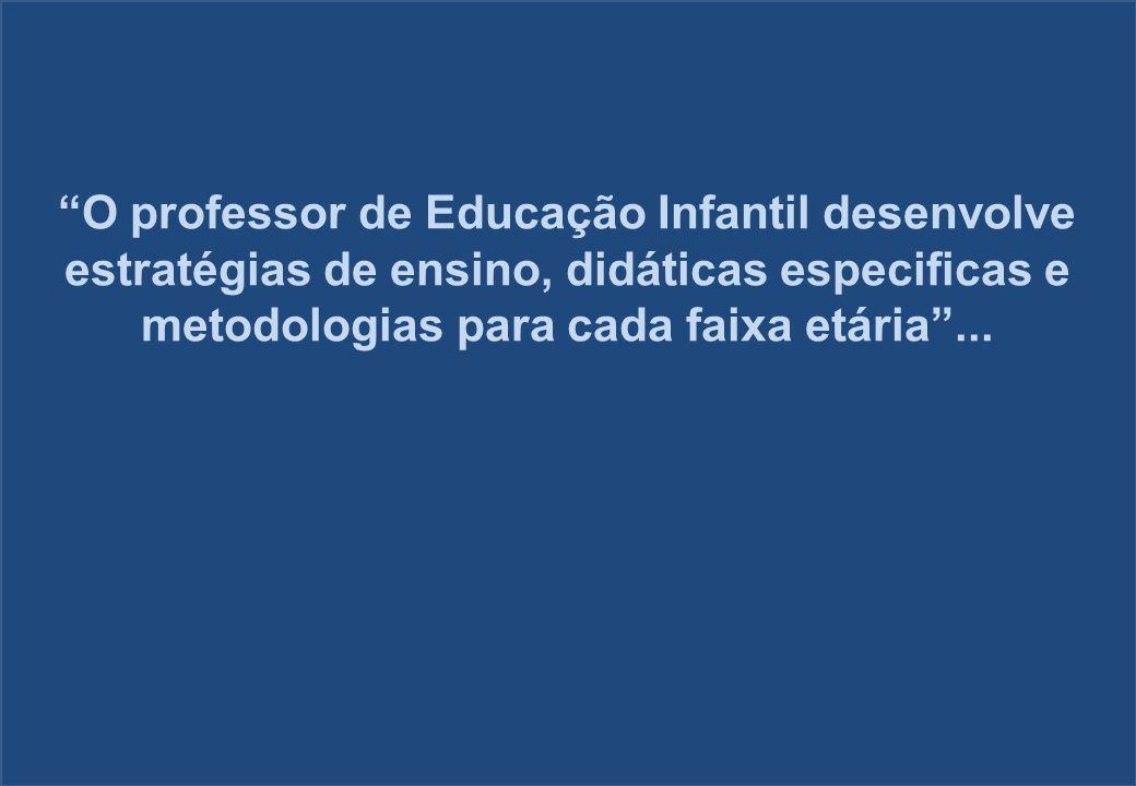 O professor de Educação Infantil desenvolve estratégias de ensino, didáticas especificas e metodologias para cada faixa etária...