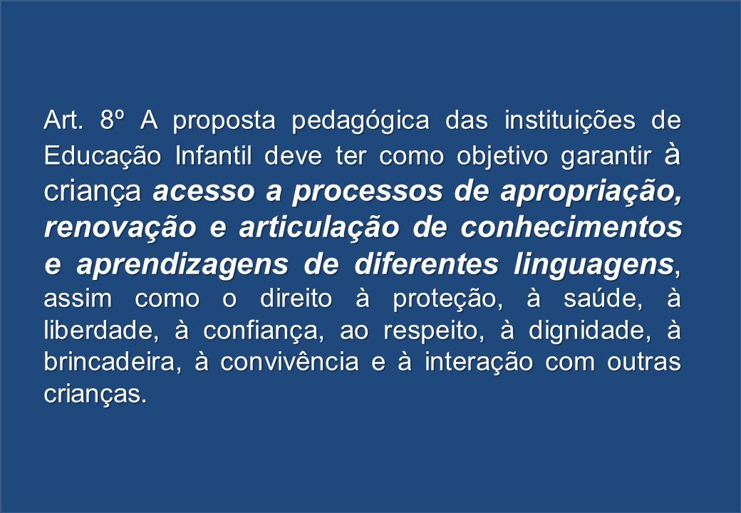 Art. 8º A proposta pedagógica das instituições de Educação Infantil deve ter como objetivo garantir à criança acesso a processos de apropriação, renov