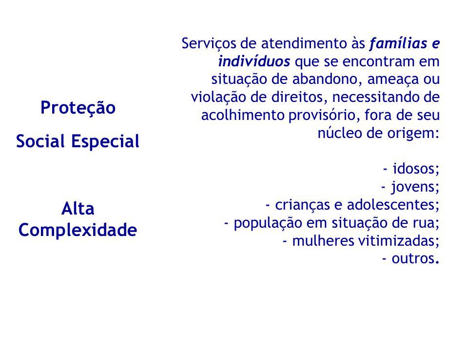 Proteção Social Especial Alta Complexidade Serviços de atendimento às famílias e indivíduos que se encontram em situação de abandono, ameaça ou violaç
