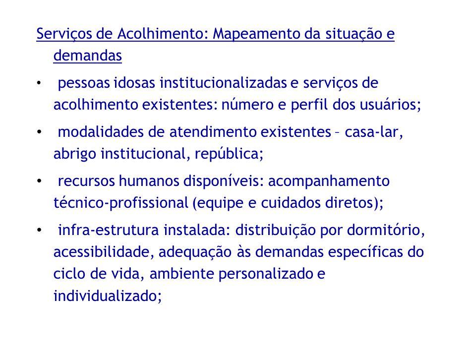 Serviços de Acolhimento: Mapeamento da situação e demandas pessoas idosas institucionalizadas e serviços de acolhimento existentes: número e perfil do