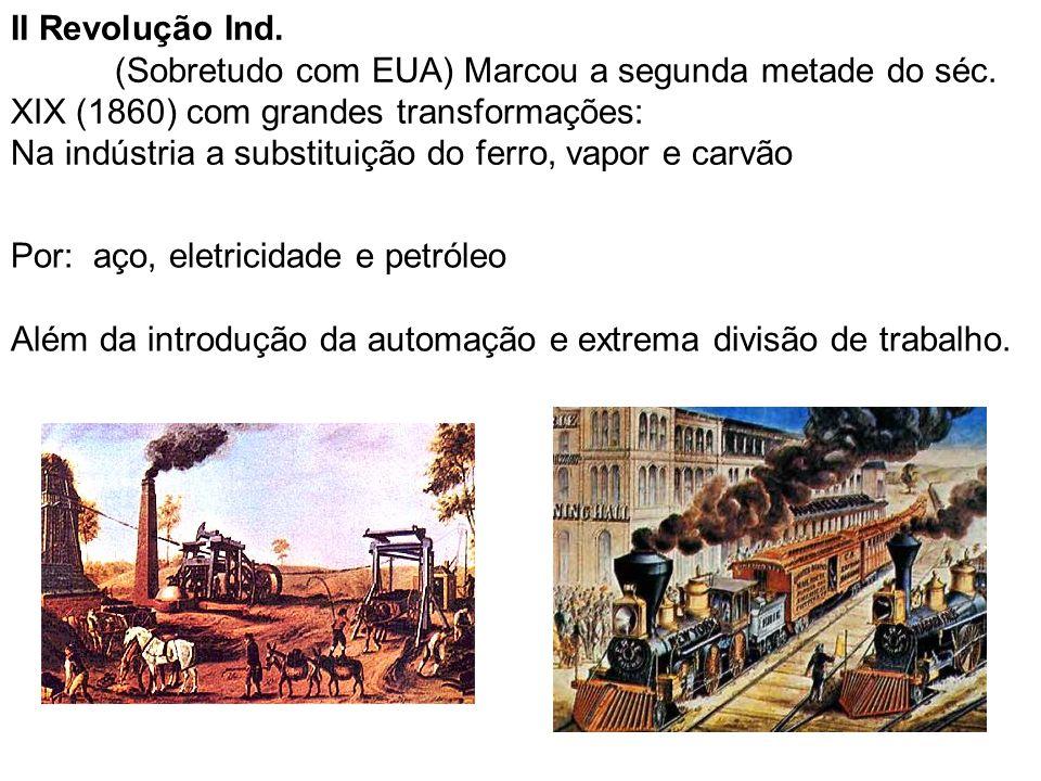 II Revolução Ind. (Sobretudo com EUA) Marcou a segunda metade do séc. XIX (1860) com grandes transformações: Na indústria a substituição do ferro, vap