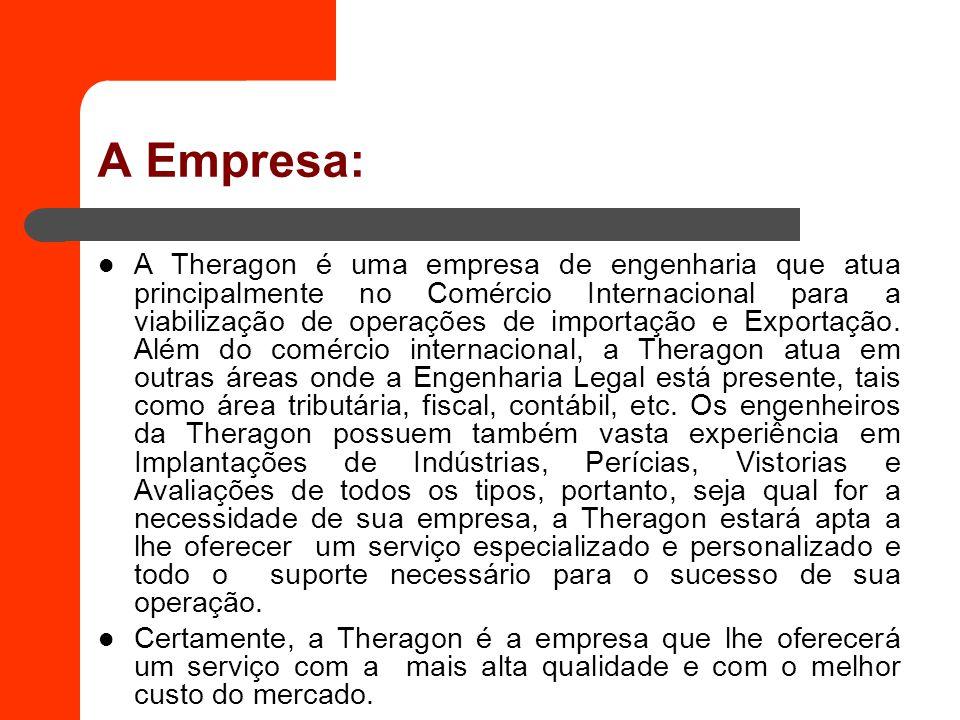 A Empresa: A Theragon é uma empresa de engenharia que atua principalmente no Comércio Internacional para a viabilização de operações de importação e E