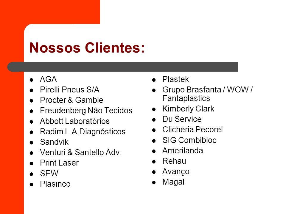 Nossos Clientes: AGA Pirelli Pneus S/A Procter & Gamble Freudenberg Não Tecidos Abbott Laboratórios Radim L.A Diagnósticos Sandvik Venturi & Santello Adv.