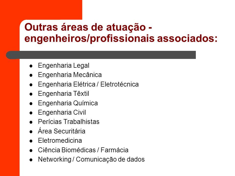 Outras áreas de atuação - engenheiros/profissionais associados: Engenharia Legal Engenharia Mecânica Engenharia Elétrica / Eletrotécnica Engenharia Tê