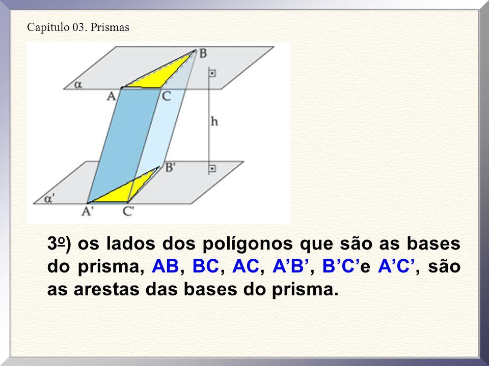 Capítulo 03. Prismas 2 o ) os paralelogramos ABBA, CBBC e ACCA (demais faces) são as faces laterais do prisma.