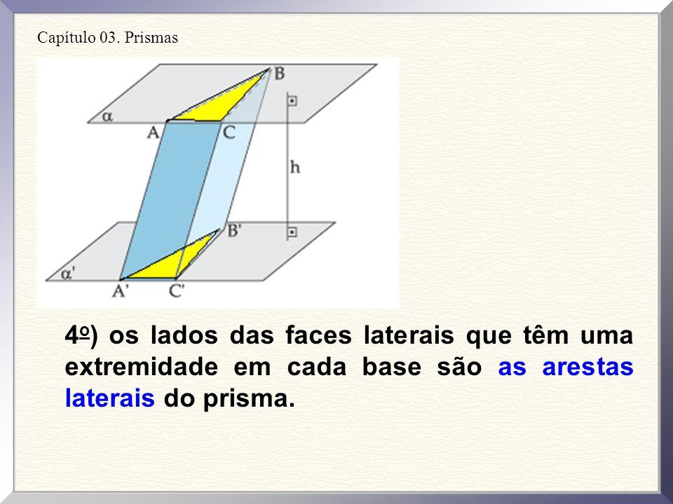 Capítulo 03. Prismas 3 o ) os lados dos polígonos que são as bases do prisma, AB, BC, AC, AB, BCe AC, são as arestas das bases do prisma.