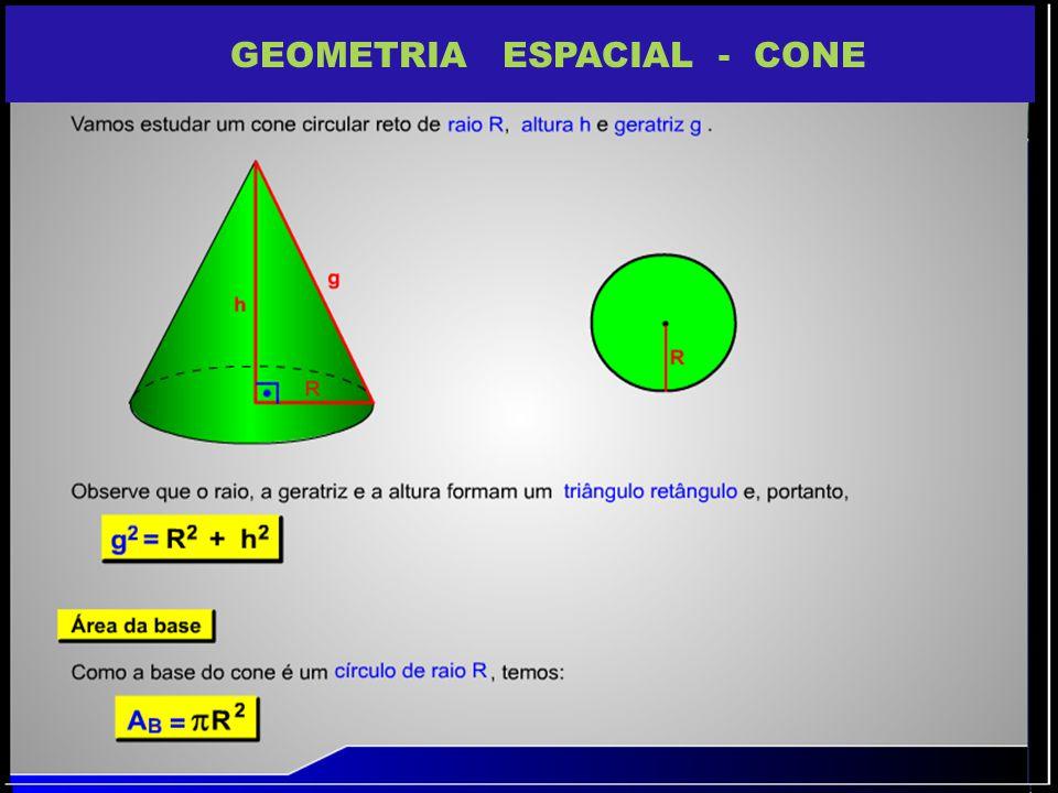 VOLUME DO CONE O volume do cone é 1/3 do volume do CILINDRO V =1/3 R 2. H Em outras palavras: podemos considerar o cone como se fosse uma pirâmide de