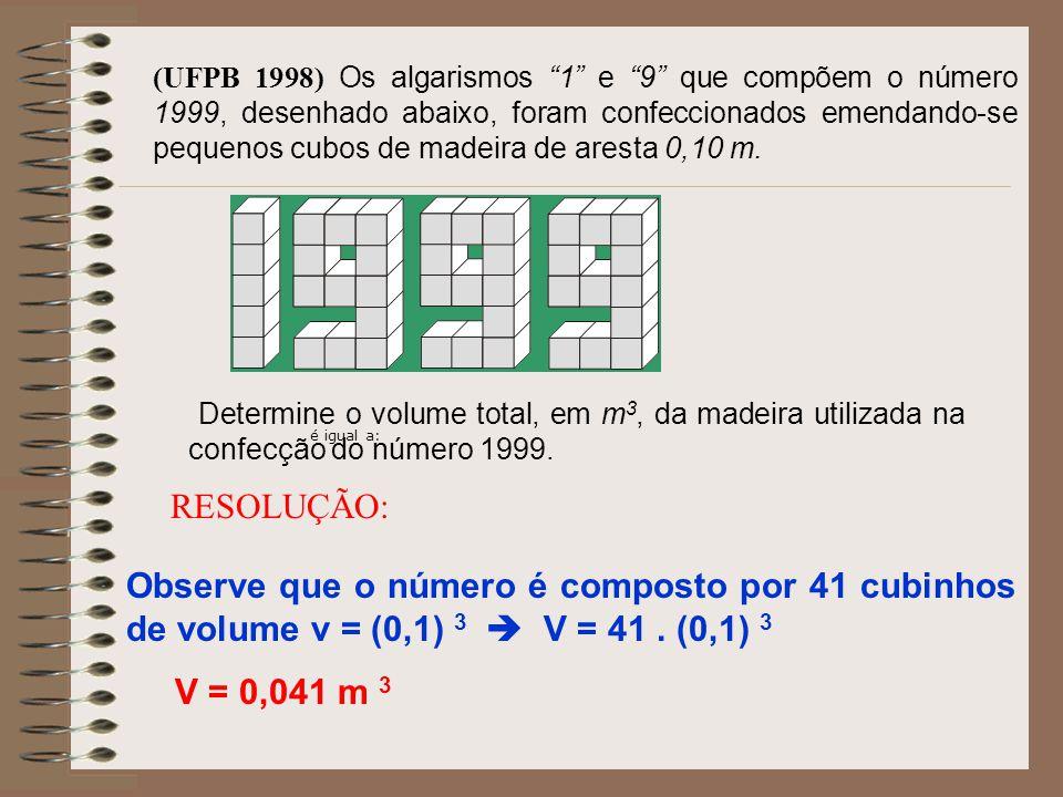 Uma caixa-d'água, em forma de paralelepípedo retângulo, tem dimensões de 1,8 m, 15 dm, e 80 cm. Sua capacidade é: a) 2,16 litros b) 21,6 litros c) 216