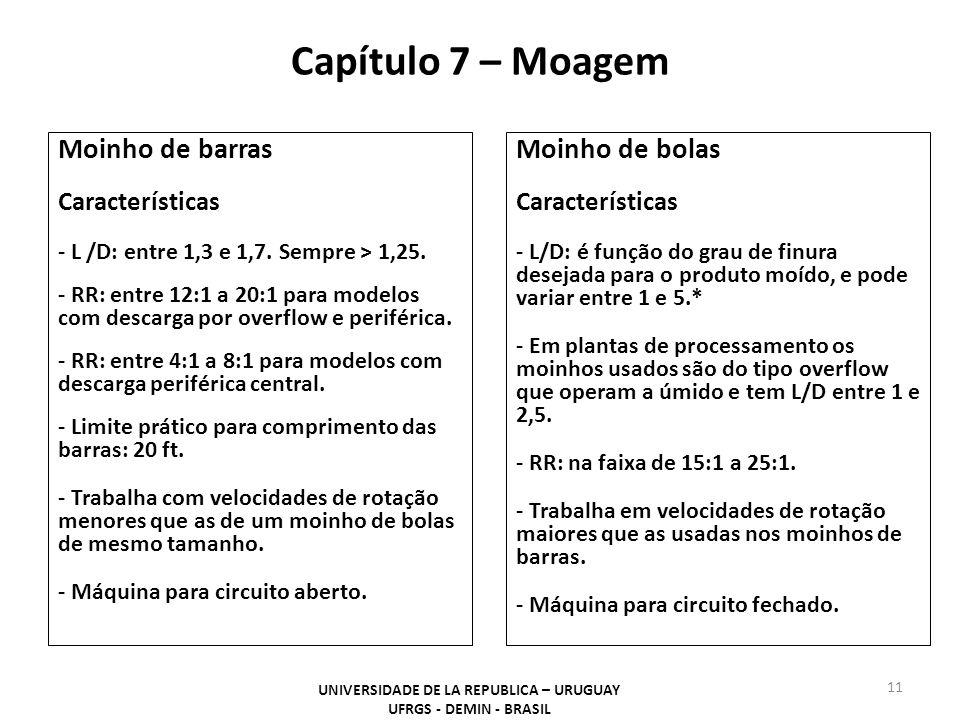 Capítulo 7 – Moagem UNIVERSIDADE DE LA REPUBLICA – URUGUAY UFRGS - DEMIN - BRASIL 11 Moinho de barras Características - L /D: entre 1,3 e 1,7. Sempre